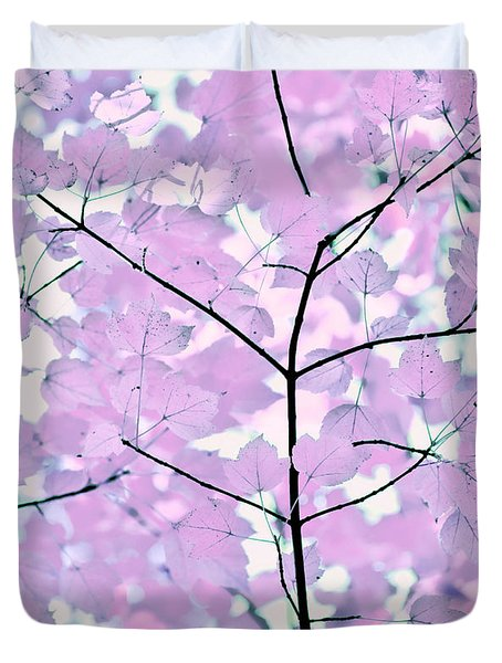 Violet Lavender Leaves Melody Duvet Cover