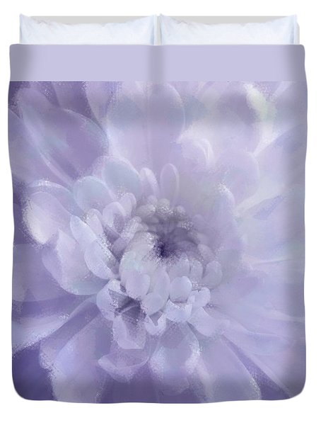 Violet Mum Luminous Painted Blossom Duvet Cover