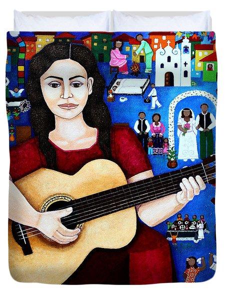 Violeta Parra And The Song Black Wedding Duvet Cover by Madalena Lobao-Tello