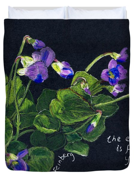 Duvet Cover featuring the painting Violets And Psalm 104 by Linda Feinberg