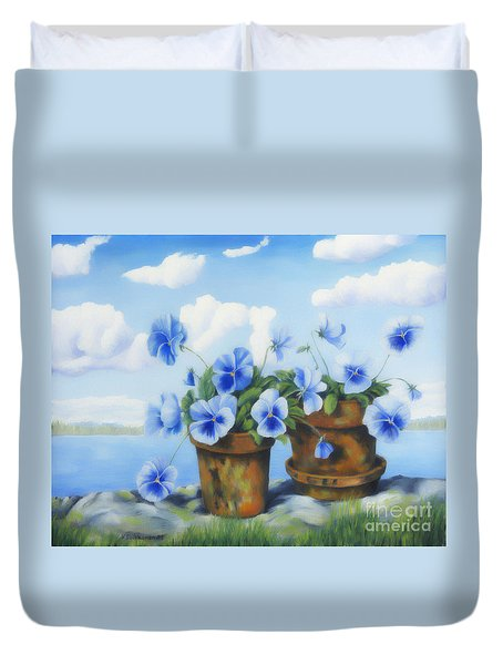 Violets On The Beach Duvet Cover by Veikko Suikkanen