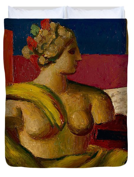 Violin And Bust Duvet Cover by Mark Gertler