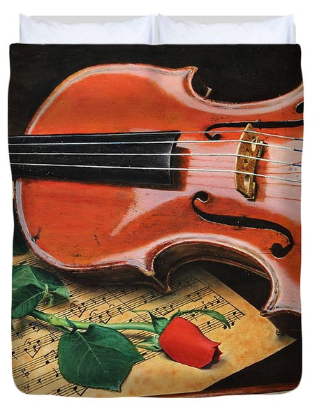 Violin And Rose Duvet Cover