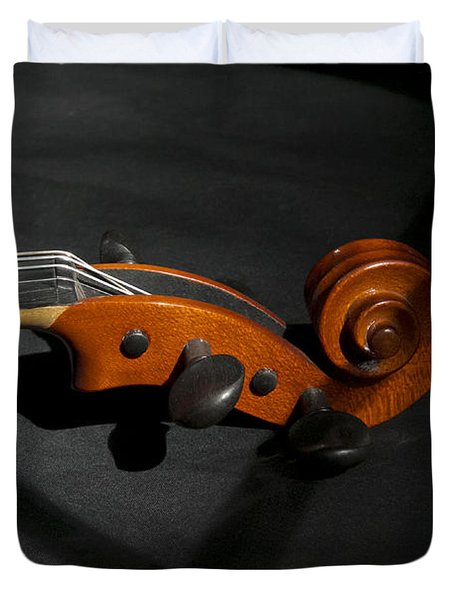 Violin In Shadow Duvet Cover by Mark McKinney