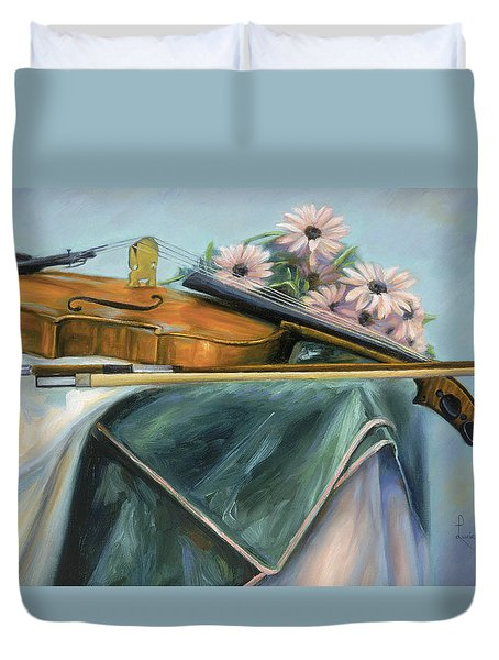 Violin Duvet Cover by Lucie Bilodeau