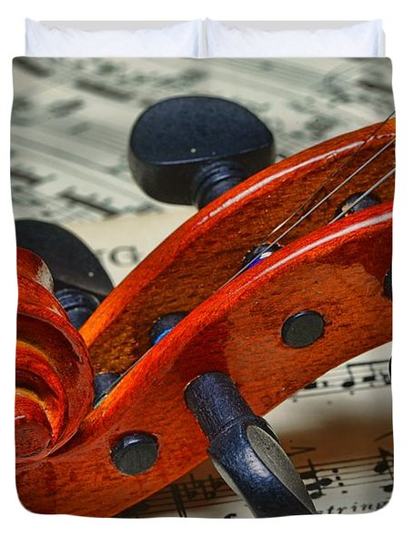 Violin Scroll Up Close Duvet Cover by Paul Ward