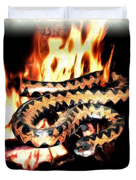 Duvet Cover featuring the digital art Viper by Daniel Janda