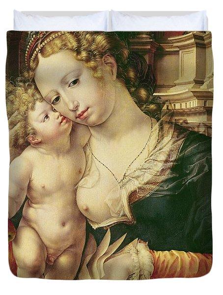 Virgin And Child Duvet Cover by Jan Gossaert
