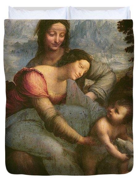Virgin And Child With Saint Anne Duvet Cover by Leonardo Da Vinci