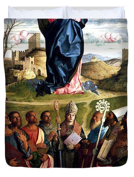 Virgin In Glory With Saints 1515 Giovanni Bellini Duvet Cover by Karon Melillo DeVega