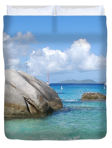 Virgin Islands The Baths With Boats Duvet Cover