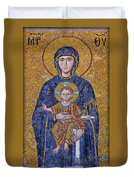 Virgin Mary And Christ Child Duvet Cover by Stephen Stookey
