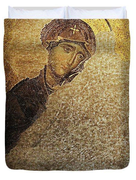 Virgin Mary-detail Of Deesis Mosaic  Hagia Sophia-day Of Judgement Duvet Cover