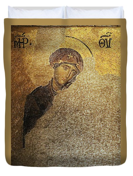 Virgin Mary-detail Of Deesis Mosaic  Hagia Sophia-day Of Judgement Duvet Cover