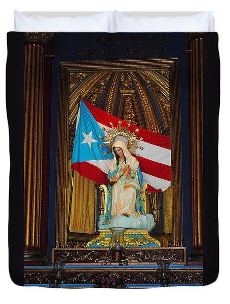 Virgin Mary In Church Duvet Cover