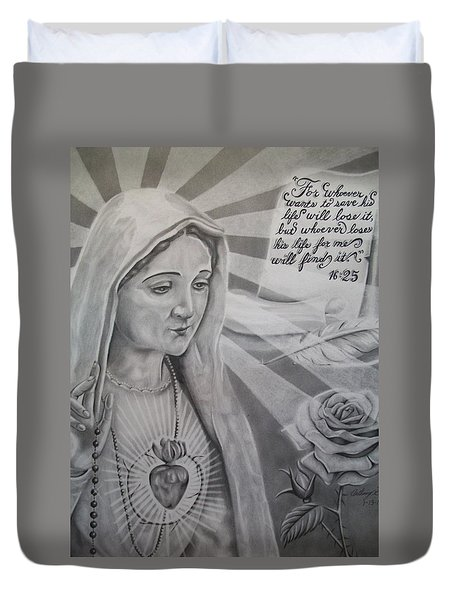 Virgin Mary With Flower Duvet Cover by Anthony Gonzalez