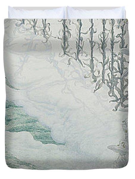 Virgin Of The Lilies Duvet Cover by Carlos Schwabe