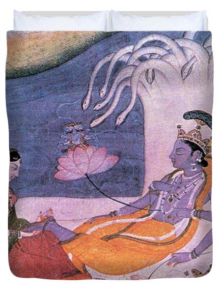 Vishnu And Lakshmi Float Across Cosmos Duvet Cover