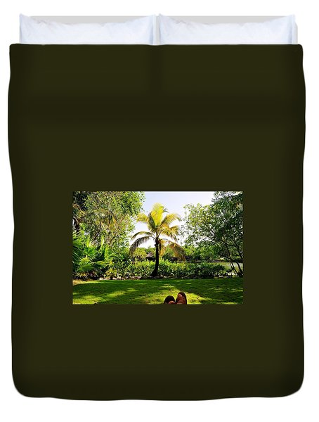 Duvet Cover featuring the photograph Visiting A Mayan Trail by Kicking Bear  Productions