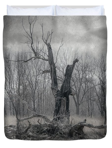 Visitor In The Woods Duvet Cover by Jim Shackett