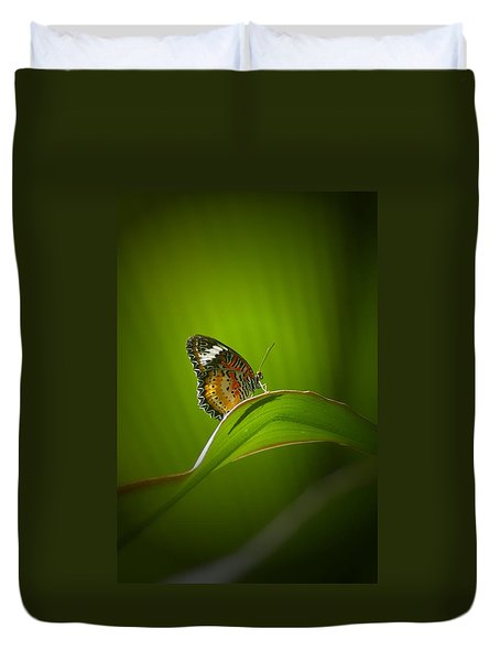 Duvet Cover featuring the photograph Visitor by Randy Pollard