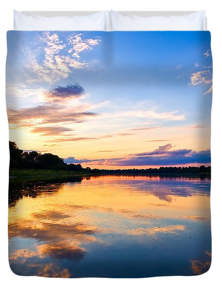 Vistula River Sunset Duvet Cover by Tomasz Dziubinski