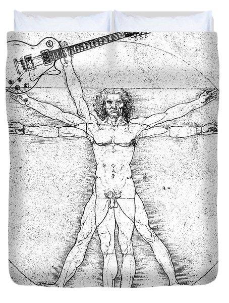Vitruvian Guitar Man Bw Duvet Cover by Jon Neidert
