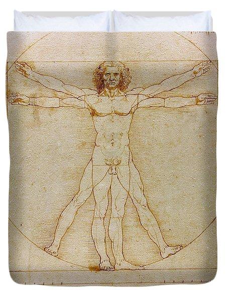 Vitruvian Man By Leonardo Da Vinci  Duvet Cover by Karon Melillo DeVega