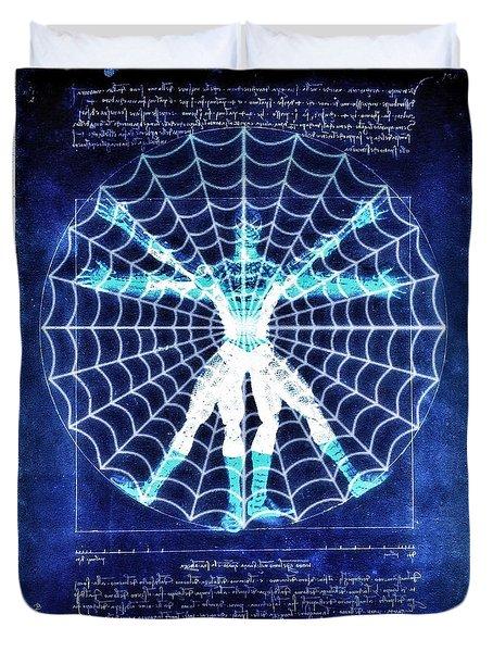 Vitruvian Spiderman White In The Sky Duvet Cover
