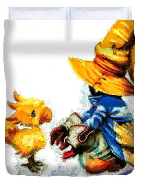 Vivi And The Chocobo Duvet Cover by Joe Misrasi