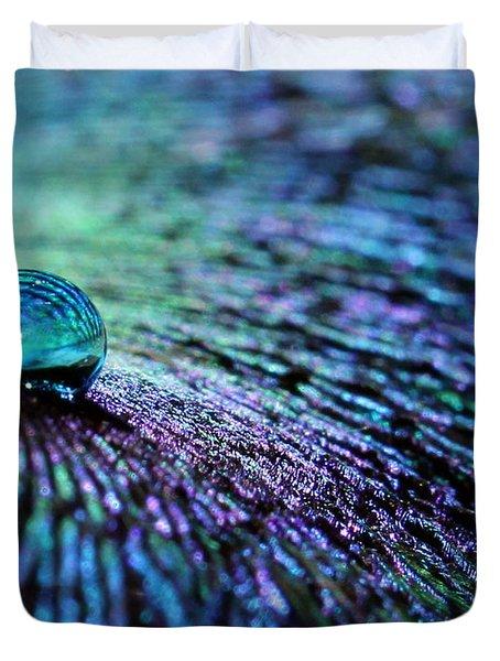 Vivid Peacock Duvet Cover by Krissy Katsimbras