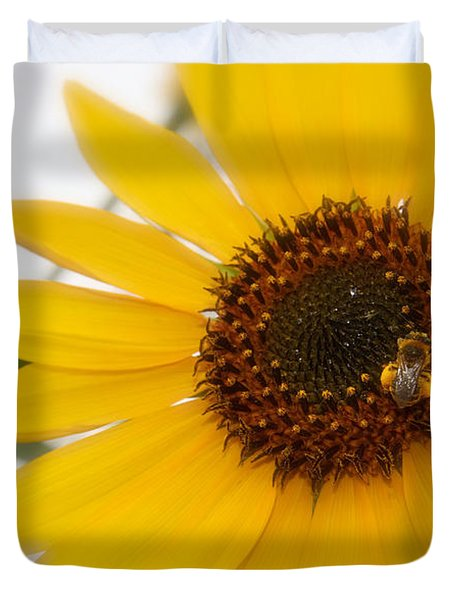 Duvet Cover featuring the photograph Vivid Sunflower With Bee Fine Art Nature Photography  by Jerry Cowart