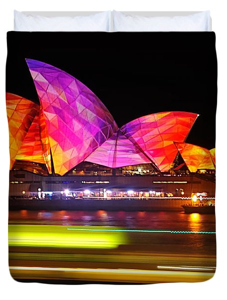 Vivid Sydney By Kaye Menner - Opera House ... Triangles Duvet Cover by Kaye Menner