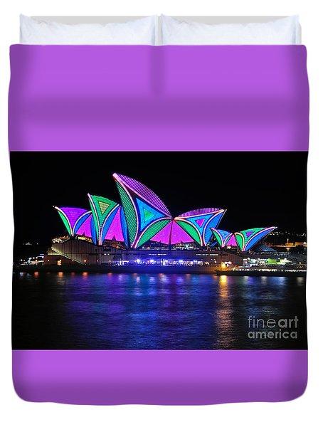Vivid Sydney By Kaye Menner - Opera House... Patterns 2 Duvet Cover by Kaye Menner