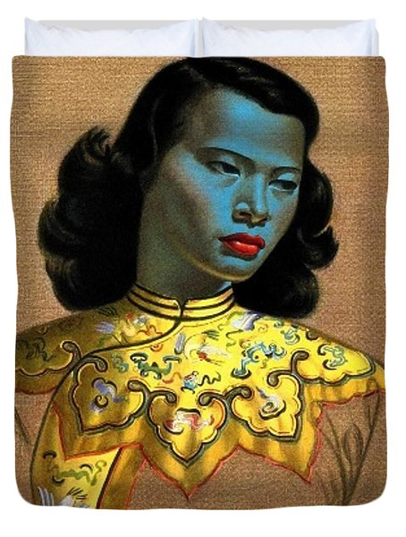 Vladimir Tretchikoff's 'the Chinese Girl, The Green Lady' Duvet Cover
