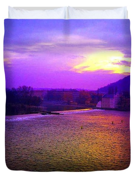 Vltava River Prague Sunset Duvet Cover