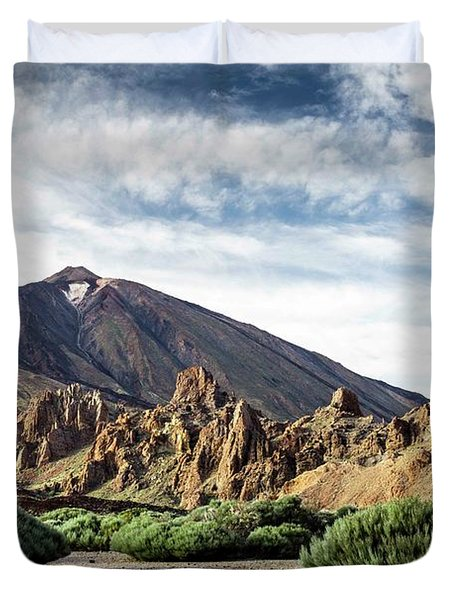 Volcano Teide, With Cloudy Sky And Pine Duvet Cover
