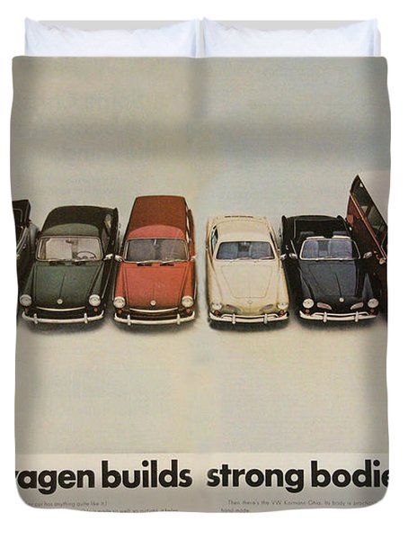 Volkswagen Body Facts Duvet Cover by Georgia Fowler
