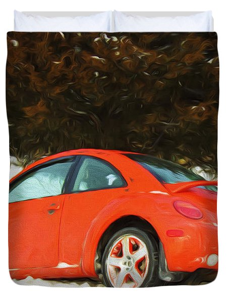 Volkswagen Snow Day Duvet Cover by Andee Design