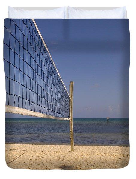 Vollyball Net On The Beach Duvet Cover