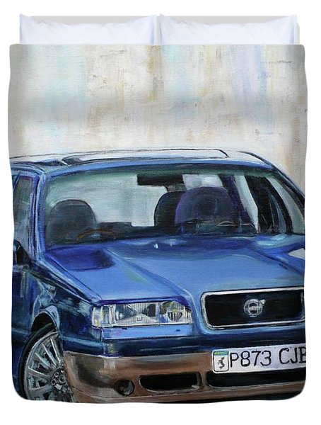 Duvet Cover featuring the painting Volvo by Anna Ruzsan