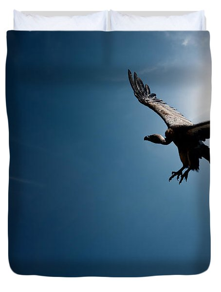 Vulture Flying In Front Of The Sun Duvet Cover