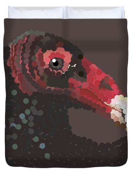 Vulture Pixel Pointillized Duvet Cover