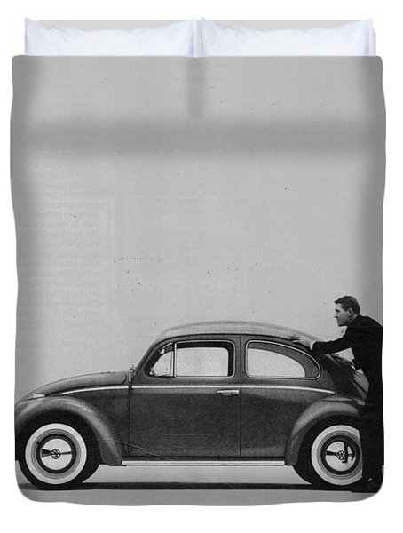 Vw Beetle Advert 1962 - And If You Run Out Of Gas It's Easy To Push Duvet Cover by Georgia Fowler