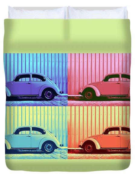 Vw Beetle Pop Art Quad Duvet Cover by Laura Fasulo