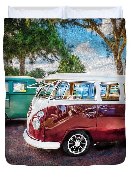 Vw Bus Stop 1964 1961 1968 Vans Trucks Painted Duvet Cover by Rich Franco