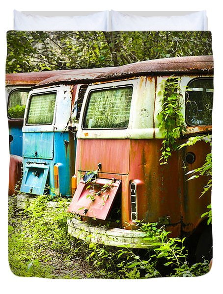 Duvet Cover featuring the photograph Vw Buses by Carolyn Marshall