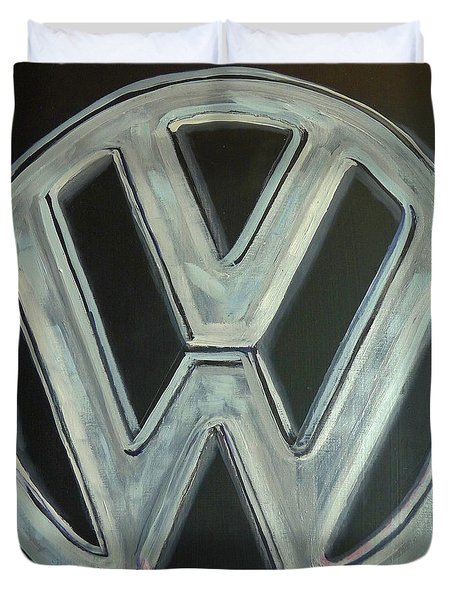 Duvet Cover featuring the painting Vw Logo Chrome by Richard Le Page