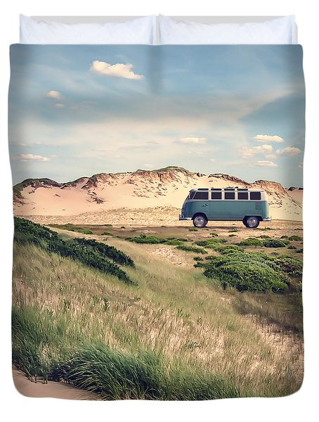 Vw Surfer Bus Out In The Sand Dunes Duvet Cover by Edward Fielding