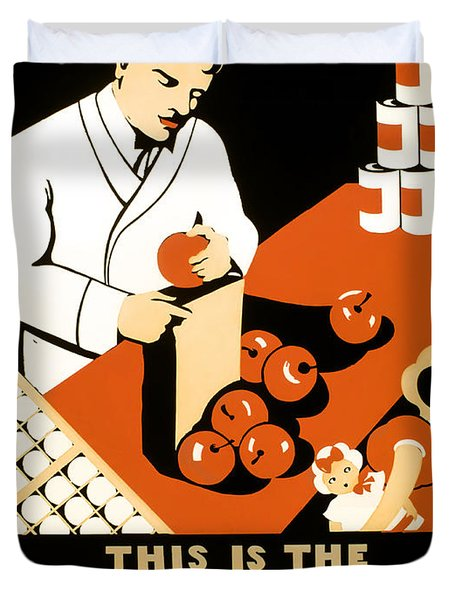 W P A  Food Hygiene Poster C. 1937 Duvet Cover by Daniel Hagerman